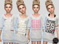 Girls Long Sweater - The Sims 4 Catalog Sims 4 Toddler Clothes, Sims 4 Cc Kids Clothing, Sims 4 Mods Clothes, Sims Mods, Children Clothing, The Sims 4 Pc, Sims 4 Teen, Sims Cc, Kids Outfits Girls