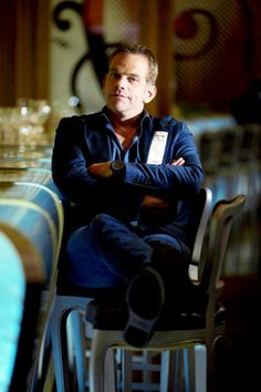 """"""" Canadian singer Pierre Garand a.k.a Garou poses in a hotel, on September 13, 2012 in Paris, ten days ahead of the release of his new album, named """"Rythm and blues"""". AFP PHOTO JOEL SAGET """""""