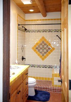 beautiful tile in bathroom