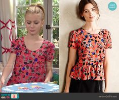 Avery's dotted peplum top on Dog with a Blog.  Outfit Details: http://wornontv.net/49838/ #DogwithaBlog