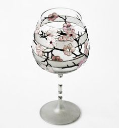 Balloon Wine Glass Hand Painted Tea Light Candle Holder Pink Blossom Bloom Sakura blossom