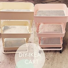 Purchased an #ikea #raskog cart in pale yellow and turned it into ballet pink with some michaels spray paint to put all my #plannergoodies! I want another one in mint soon :)