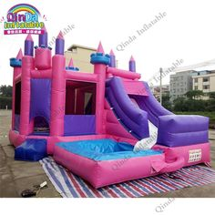 Guangzhou Qinda Princess inflatable bouncy castle with water slide swimming pool kids jumping castle for sale Bouncy House, Bouncy Castle, Trampolines, Princess Bounce House, Disney Princess Room, Princess Castle, Commercial Bounce House, Bounce House Birthday, Backyard Water Parks