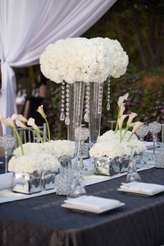 white carnations centerpiece - Google Search