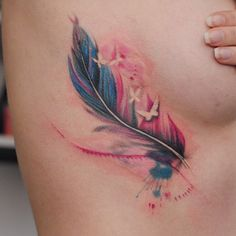 Feather, sketch, side tattoo on TattooChief.com