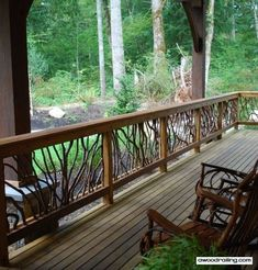 Building a porch without deck railing will be almost impossible. Thus, many designs of deck railing are available so people can choose whichever they like. Wood Balusters, Wood Railing, Deck Railings, Deck Railing Design, Deck Design, Outdoor Spaces, Outdoor Living, Outdoor Decor, Outdoor Patios