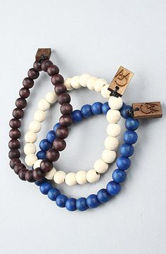#karmaloop GoodWood The GW Bracelet 3Pack in Blue Natural Dark Wood / Save 20% off your Karmaloop.com purchase or 10% off your PLNDR.com purchase using rep code: KLOOP101
