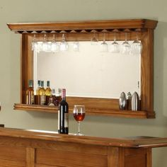 Burnished Oak Back Bar Mirror
