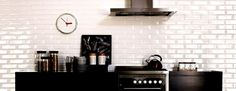 white subway tiled splashback kitchen - Google Search