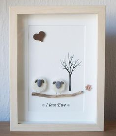 Pebble Art framed Picture  Sheep  I love Ewe