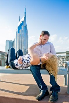 Nashville engagement with the beautiful scenery as a backdrop