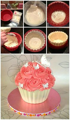 giant cupcake cakes Chocolate shell for giant cupcakes Giant Cupcake Cakes, Large Cupcake, Mini Cakes, Giant Cupcake Recipes, Giant Cake, Cupcake Gigant, Bol Cake, Cake Decorating Tutorials, Decorating Supplies