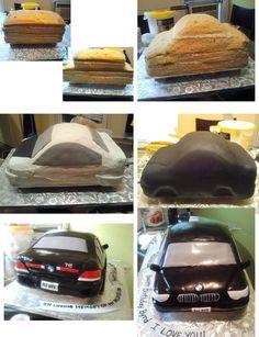 É assim que eu fiz o meu BMW 745 Cake. Nem todos os passos estão incluídos na imagem, mas você pode ter uma idéia. Para criar o brilho. Eu só pintou com corante alimentício preto e claro baunilha.