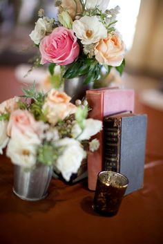 Ideas for personalizing your #centerpieces #flowers @Victorian Gardens Floral and Wedding Stylist photos