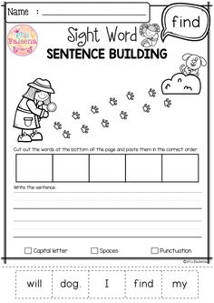 Sight Word Sentence Building Pre-Primer has 40 pages of sentence building worksheets. This product will teach children to read, write and build sight sentences. Dolch Sight Words Kindergarten, Preschool Sight Words, Kindergarten Addition Worksheets, Teaching Sight Words, First Grade Worksheets, Reading Worksheets, Preschool Kindergarten, Preschool Worksheets, Sight Word Sentences