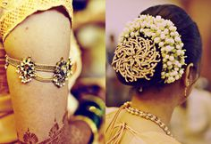 bridal jewellery bridal hairbun and armlet Prasad & Hemlata Wedding by omkar chitnis photography, via Behance