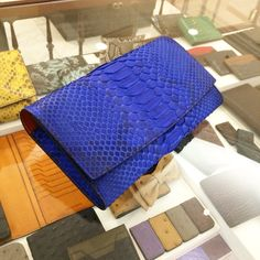#Handstitched #METTIQUE ARDHA clutch in sapphire python and kroket vegetable-tanned Italian cowhide leathers. WWW.METTIQUE.COM