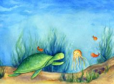 Sea turtle  summer children's wall decor by talkingdonkeystudio, $45.00