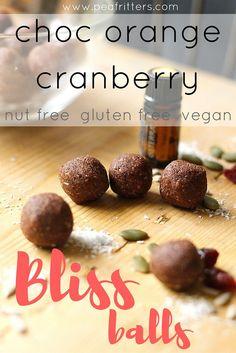 Choc Orange Cranberry Bliss Balls - nut free, vegan, gluten free www.peafritters.com