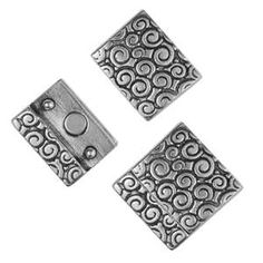 Leather Clasp 20mm Swirl Pattern - Antique Silver