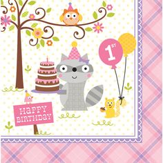 Surround your little girl�s guests in a woodland wonderland!  Woodland Creatures Girl 1st Birthday Lunch Napkins are perfect for celebrating your girl�s first birthday with a happy squirrel holding a pink balloon with �1st� printed on it along with an additional yellow balloon.  There is also a raccoon holding a birthday cake, an owl sitting in a flowering tree, and a pink sign in the bottom left corner that reads �Happy Birthday�.  Each 3-ply paper napkin has a white background and a pink…