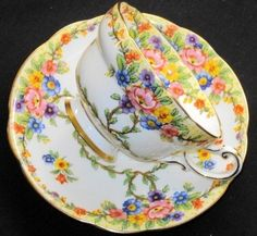 STAR Paragon Climbing Fleur  Tea cup and saucer by oldrose