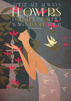 Art Deco Poster Romantic Flowers Matisse