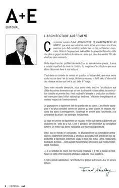 A+E #Architecture et #Environnement au #Maroc #Magazine  #Editorial #Fouad #Akalay DG Groupe #Archimedia @Groupe Archimedia @groupearchimedia