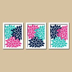 Turquoise Pink Navy Flower Burst Dahlia Artwork Set by trmDesign, $25.00