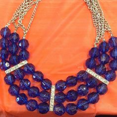 Triple row blue crystal bead necklace NWT Gorgeous triple row blue crystal necklace silver with rhinestone embellishment bars GORGEOUS Jewelry Necklaces