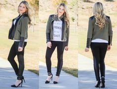 You Are the French to My Toast :: Quilted Panel Leggings and Army Green Contrast Leather Jacket