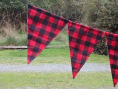 Lumberjack Party Bunting  Red & Black Buffalo Plaid for Bridal Shower or Baby Shower or Country Wedding   Birthday Party Decor