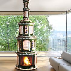 Hungarian Wood Burning Stove Made With Herend Porcelain