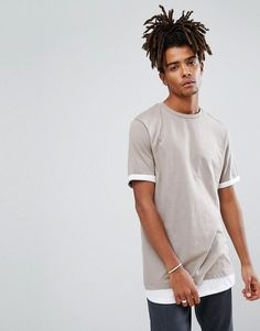 ASOS Super Longline T-Shirt With Hem And Roll Sleeve Extender - Multi