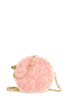 Betsey Johnson Everyone Rose Bag. When carrying this Betsey Johnson purse with your white dress, pillbox hat, and pearlescent heels, you dont even have to flaunt its facets to have them be seen! #pink #wedding #modcloth