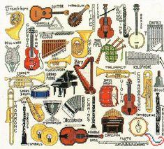 Cross Stitch Music, Mini Cross Stitch, Cross Stitch Cards, Counted Cross Stitch Patterns, Cross Stitching, Cross Stitch Embroidery, Vintage Cross Stitches, Back Stitch, Musical Instruments