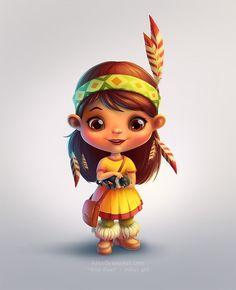 #Indian #girl with #little #cat #digital #art, photoshop, sai. #Cartoon #character #design. #Illustrations : #AlexGreenArt