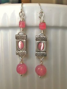 Silver wire 2-hold slider beads silver w/cat's eye stone, pink glass beads drop dangle earrings.  FOR SALE. Please visit my ebay page to see all of my earrings for sale: www.ebay.com/...?::