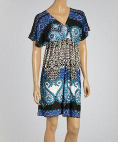 Look at this #zulilyfind! Black & Blue Abstract Empire-Waist Dress by Shana-K #zulilyfinds