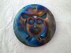 Owl Raku Bead Ceramic Bead Clay Bead Animal by spinningstarstudio