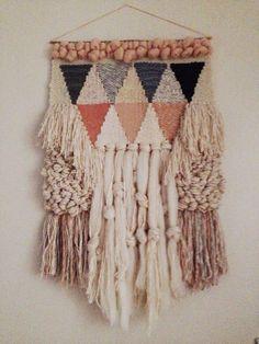 Woven wall hanging weaving by Maryanne Moodie Weaving Textiles, Weaving Art, Weaving Patterns, Loom Weaving, Tapestry Weaving, Wall Tapestry, Hand Weaving, Weaving Designs, Stitch Patterns
