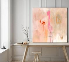 Large abstract print pink coral, large abstract painting giclee print, pink pastel abstract art, large abstract canvas art, pink and white Abstract Canvas Art, Pink Abstract, Abstract Print, Painting Abstract, Art Original, Original Paintings, Art Du Monde, Rose Pastel, Art Abstrait