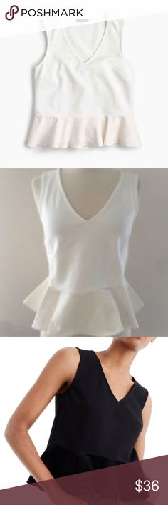"""J. Crew Peplum Top Ivory White Size Medium NWT. Super flattering peplum top with a luxurious velvet panel. V-ncek. 21""""L, 18"""" bust, 8"""" V. Machine washable! Black is shown just for fit purposes. Thakns for shopping my closet! J. Crew Tops"""