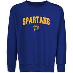 San Jose State Spartans Youth Royal Blue Logo Arch Crew Neck Fleece Sweatshirt