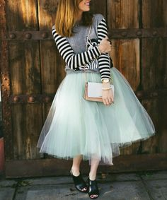 tulle-skirt-outfit, striped-sweater-and-tulle-skirt, alexandra-grecco-tulle-skirt, 8 Ways to Wear a Tulle Skirt on Art in the Find
