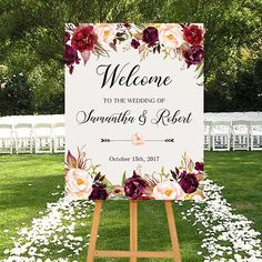 Wedding Welcome Sign Marsala Burgundy Peonies Floral Boho