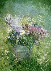 Purple Flowers & Daisies Amanda Hoskin Art: