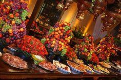decoracao  arranjo flores e frutas