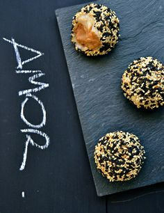 sesame glutinous rice balls with peanut butter and fleur de sel