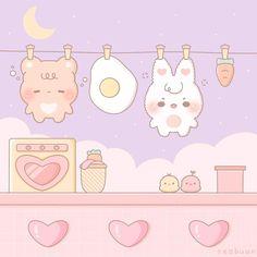 Wallpapers Kawaii, Kawaii Wallpaper, Cute Cartoon Wallpapers, Soft Wallpaper, Aesthetic Iphone Wallpaper, Kawaii Stickers, Cute Stickers, Cute Walpaper, Laundry Art
